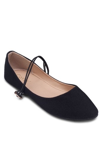 zalora 泳衣彈性踝帶尖頭平底鞋, 女鞋, 鞋