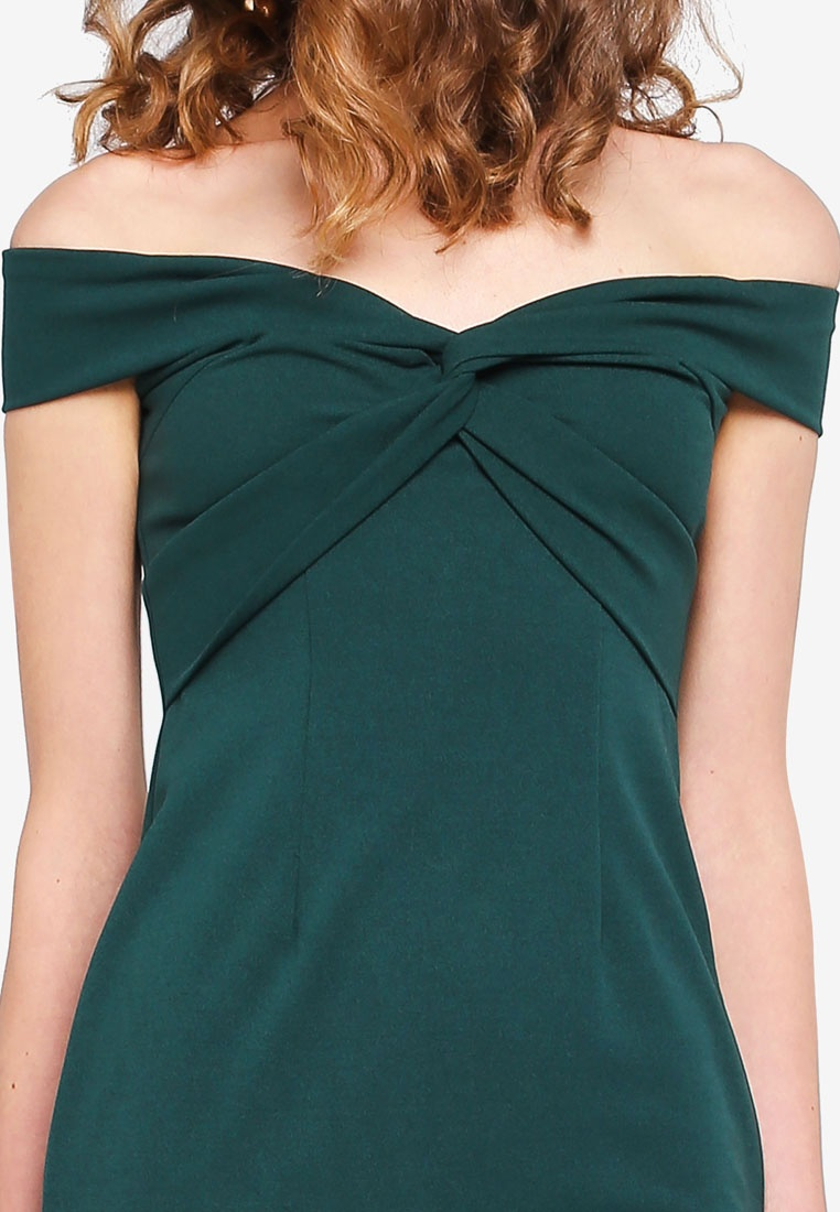 Forest Shoulder Bodycon INDIKAH Dress Knotted Green Off Front xAwqY8O