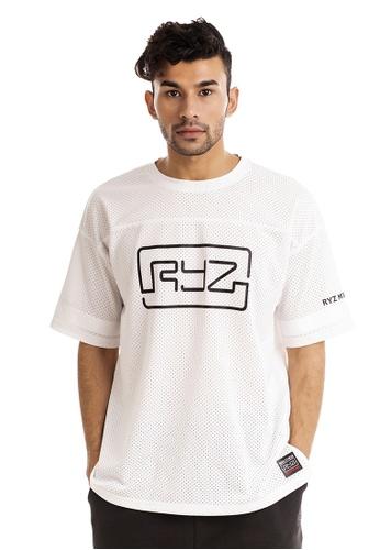 RYZ white RYZ OG Lightweight Mesh White T-Shirt. B9638AACD38D99GS_1