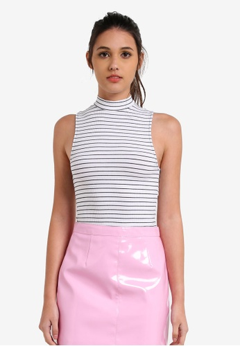 Miss Selfridge multi Striped Funnel Neck Top MI665AA0RX9OMY_1