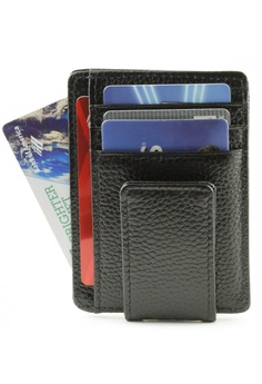 144c11e2f99a Fashion by Latest Gadget black Unisex Leather Card Holder With Magnet Money  Clip Wallet E6363AC924BE47GS 1