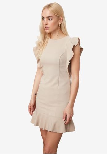 Trendyol beige Ruffle Sleeve Flywheel Dress 10130AA41F1988GS_1