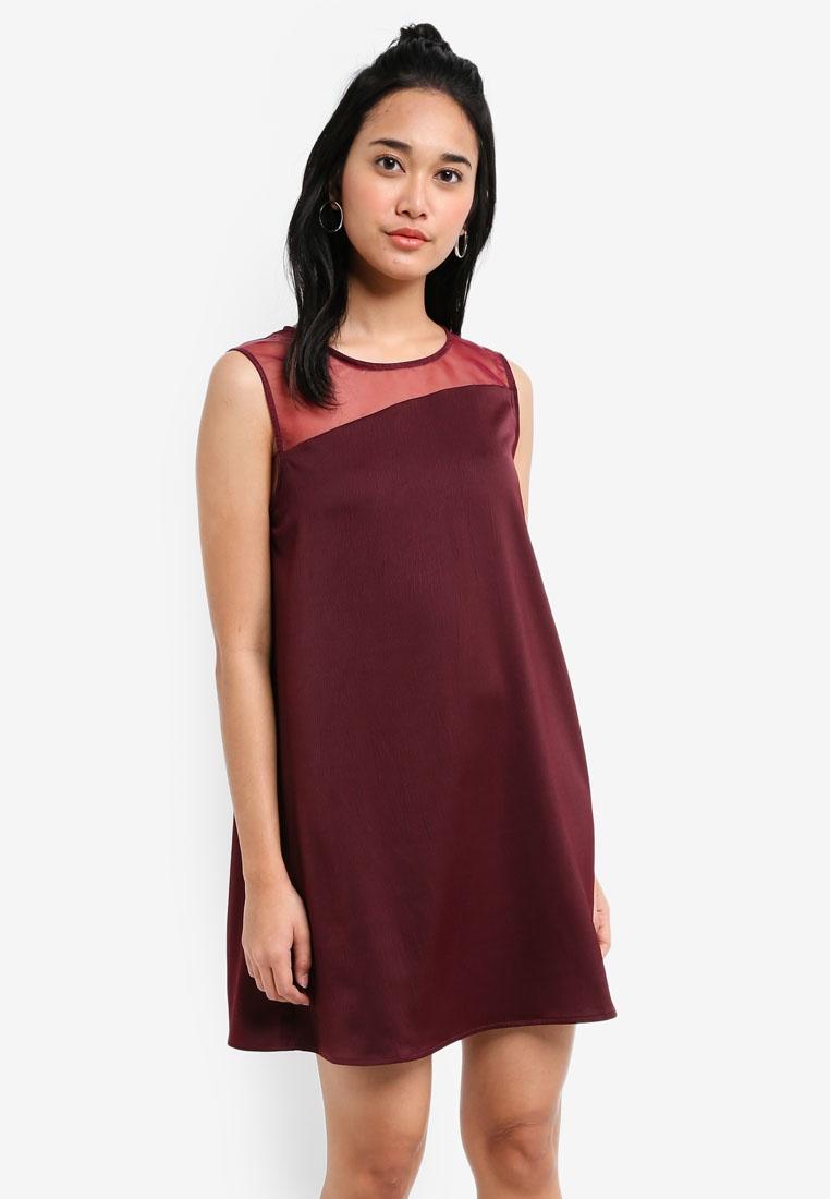 Borrowed Asymmetric Sleeveless Something Dress Swing Maroon 4S878Iqawx