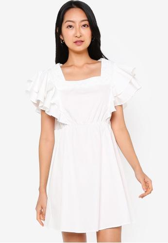 ZALORA BASICS white Layered Sleeve Square Neck Mini Dress 38A44AA117782CGS_1