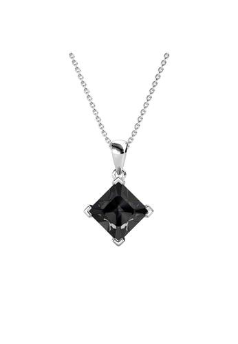 Her Jewellery black Princess Square Pendant (Black) - Made with Premium grade crystals from Austria B304DACBB723C8GS_1