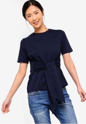 d50130d55968a2 Shop ZALORA BASICS Basic Tie Front T-Shirt Online on ZALORA Philippines