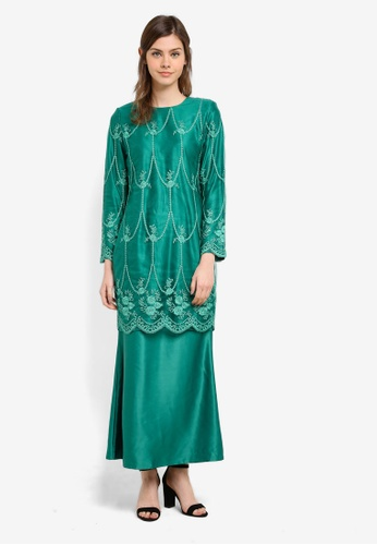Gene Martino green Fairy Kurung With Exclusive Glitered Embroidery Scallop Lace GE222AA0S769MY_1