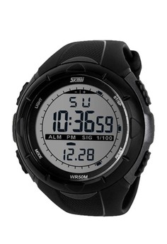 50M Waterproof Sport Watch With Stop Watch Timer Silver