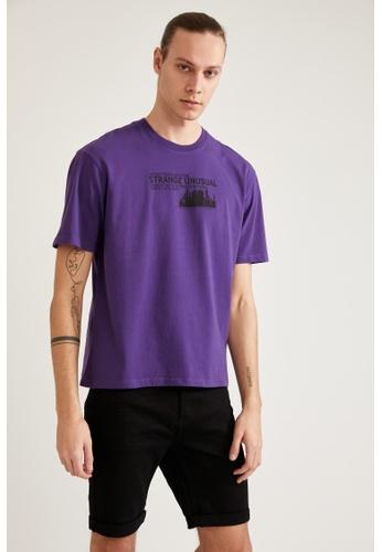 DeFacto purple Short Sleeve Round Neck Cotton Printed T-Shirt 65D07AA41ECD58GS_1