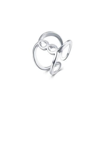 Glamorousky silver Fashion Simple Line Adjustable Split Ring 3F2CCAC79C68E6GS_1