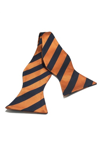 Splice Cufflinks Manual Series Black Stripes Orange Self-tied Man Made Silk Bow Tie SP744AC31KZGSG_1
