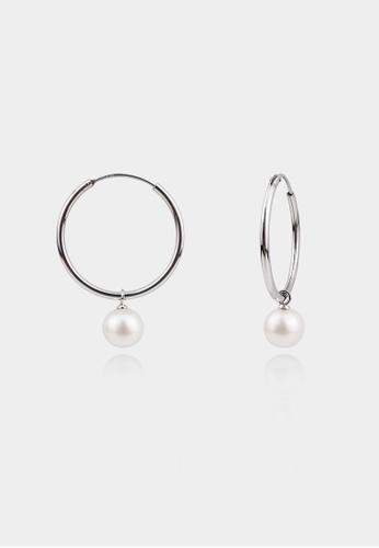 monojewelry SILVER HOOP PEARL EARRINGS 44147AC55476C5GS_1