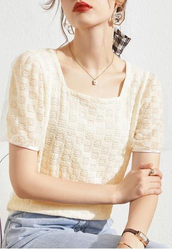 HAPPY FRIDAYS beige Jacquard Lace Puff Sleeve Blouse JW GW-J134 791EDAA91276C5GS_1
