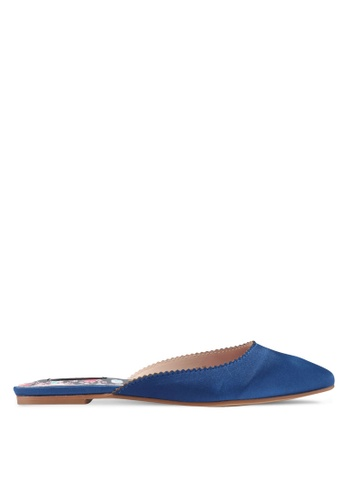 Nose blue and navy Satin Flat Slip On Mules A3811SHD629851GS_1