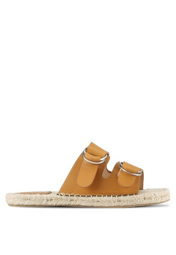 Something Borrowed brown Double Strap Espadrille Sliders 94F84ZZ002A1CFGS_1