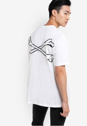 Flesh IMP white Embossed Bonding Oversized T-shirt FL064AA11VWAMY_1