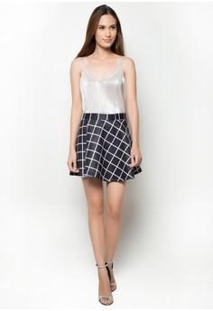 Printed Neoprene Skater Mini Skirt