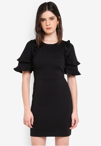 ZALORA black Ruffle Layer Sleeve Dress 885B5AAD7A2062GS_1