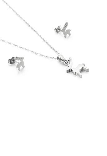 Glamorousky silver Simple and Cute Deer 316L Stainless Steel Necklace and Stud Earring Set B0C1AACA0EB8BAGS_1