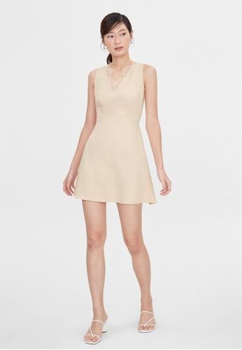 Pomelo beige Lace Accent A Line Dress - Cream F8776AA520D721GS_1