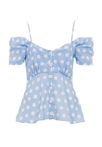 Jimmy Sanders blue Jimmy Sanders Women's Polka Dot Cold Shoulder Blouse 45CE3AA6060BFFGS_1