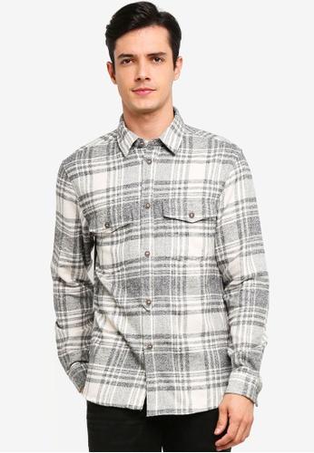 !Solid 灰色 Shayne 格紋Flannel 襯衫 9EB0EAA3C3DC17GS_1
