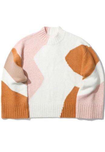GREENISHPINK pink Colour block knit sweater. C5A79AA8A165C8GS_1