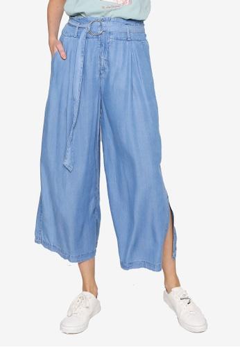Hopeshow blue Paperbag Waist 3/4 Linen Pants with Side Slit 7D875AAE3E7C00GS_1