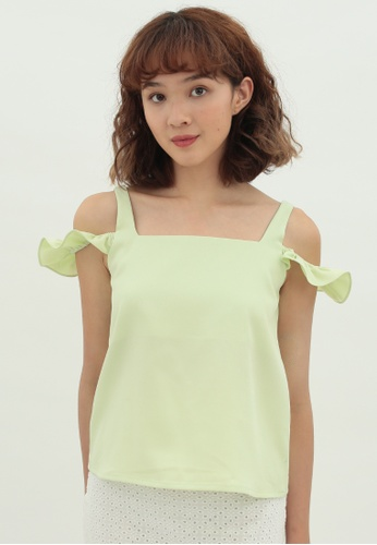 Love Knot green Clover Cold Shoulder Sleeveless Top (Lime Green) CB8BEAA9A4626AGS_1
