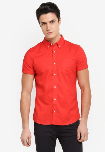 Burton Menswear London 紅色 短袖牛津襯衫 AA5C6AAF5BFCFFGS_1