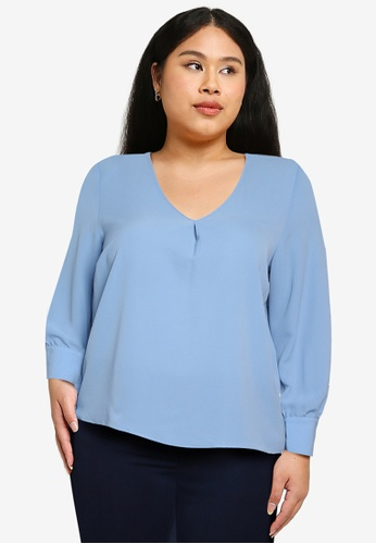 Only CARMAKOMA blue Plus Size Luxmila Long Sleeves V-neck Top D0A75AA4E428B8GS_1