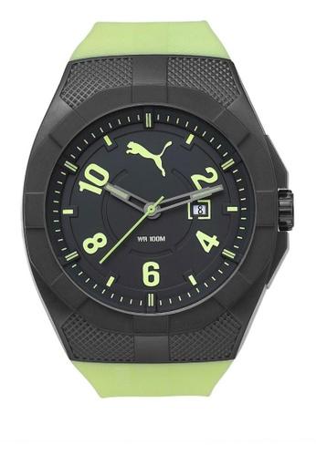 Puma green PU103501010 Iconic Luminous Green PU Strap Men Watch PU549AC0RJVWMY_1