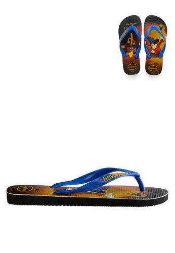 Havaianas black and blue Mickey's 90th Anniversary FC Flip Flops 9812ASH8F6EE5BGS_1