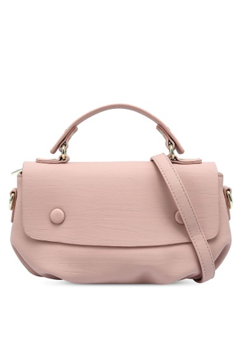 Bagstationz pink Faux Leather Convertible Satchel Bag EE06DAC6B08A01GS_1