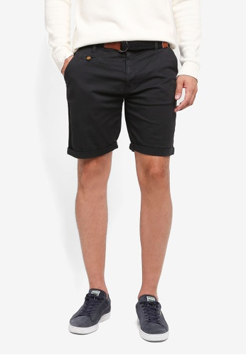 Indicode Jeans black Conor Shorts With Belt F2AD8AA4F5CD73GS_1