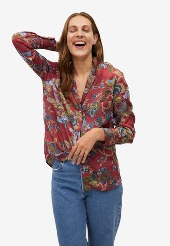Mango red Oriental Print Shirt 35BCBAAC74E77AGS_1
