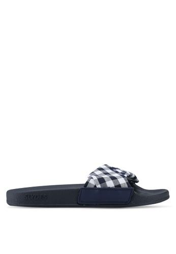 Slydes 多色 格紋拖鞋 7229ESH79BBD54GS_1