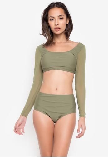 Kats Clothing green Crop Top Mesh Screen Longsleeve High Waist Two Piece FLB099 FEEA6USCA2C7AAGS_1