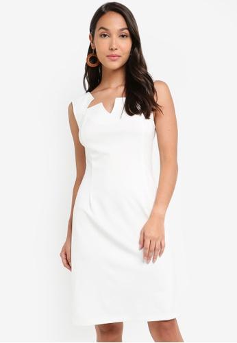 ZALORA 白色 無袖鉛筆洋裝 14E09AAD364D54GS_1