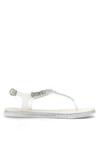 Twenty Eight Shoes white Crystal T-Strap Jelly Flat Sandals A99-2 6DC44SH3E2B251GS_1