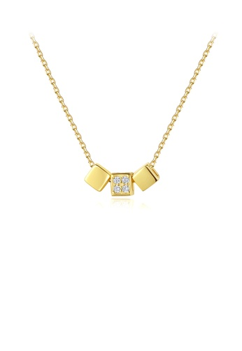 Glamorousky white 925 Sterling Silver Plated Gold Fashion Simple Geometric Square Necklace with Cubic Zirconia and Necklace 80FBDACBAC4261GS_1
