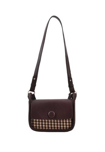 Lara brown Women's Houndstooth Leather Flap Zipper Shoulder Bag - Brown 0CAE8AC4FECC65GS_1