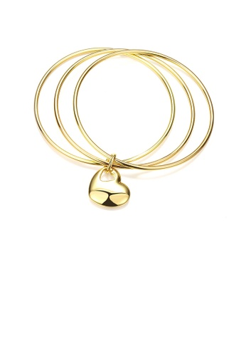 Glamorousky silver Fashion Simple Plated Gold Heart-shaped Three-layer Bangle 34832AC32CE14EGS_1