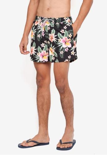 Burton Menswear London black Black Dark Floral Print Regular Pull On Swim Shorts 881F7USD01D814GS_1
