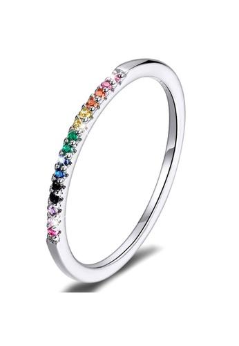 925 Signature 925 SIGNATURE Solid 925 Sterling Silver Rainbow Colourful Casual Ring 5DA9DAC716B93FGS_1