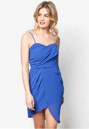 抓zalora 鞋評價褶裹飾細肩帶洋裝, 服飾, 洋裝