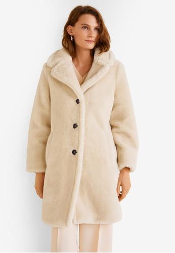 Mango grey Lapels Faux Fur Coat EBEA6AA7D8FF9FGS_1