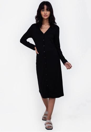 ZALORA BASICS black Jersey Button Down Dress A1B40AA49C906BGS_1