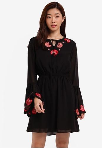 ZALORA black Embroidered Tie Front Dress 5EDF0AAFADF3F3GS_1