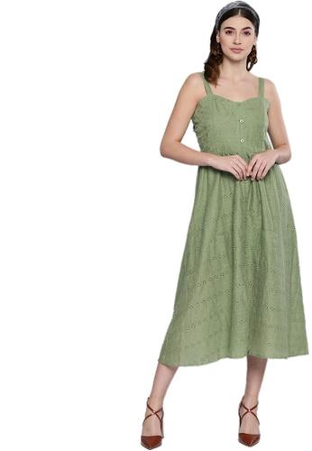 SASSAFRAS green Olive Schiffli Front Button Strappy Dress 4416EAAA35C948GS_1